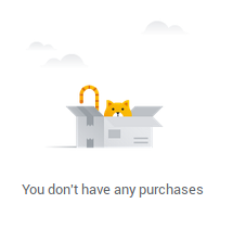"screenshot of google purchases dashboard showing ""You don't have any purchases"""
