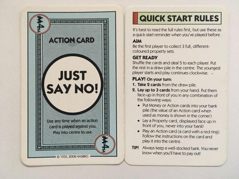 Just say no card in Monopoly deal